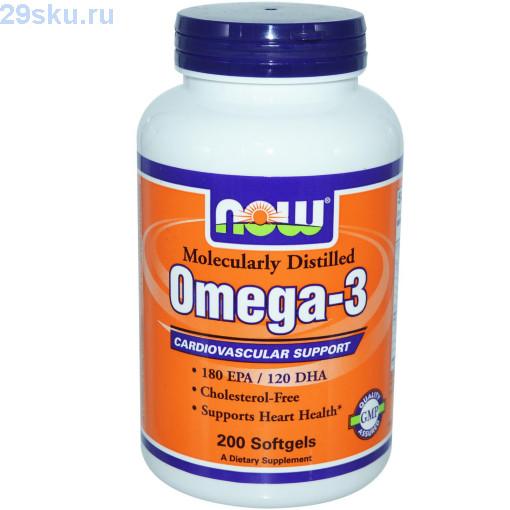 Капсулы для сердца Now Foods Omega-3 — 200 капсул
