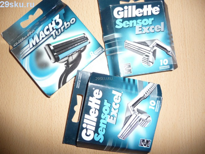 Лезвия для бритья Gillette Sensor Excel и Gillette Mach3 Turbo